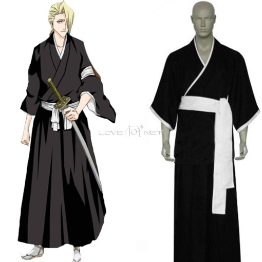 Rulercosplay Bleach 3rd Division Lieutenant Kira Izuru Black Uniform Cloth Cosplay Costume Wholesale