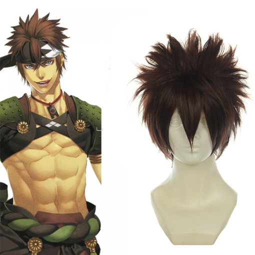 Rulercosplay Short Hakuouki Shinpachi Brown Heat Resistant Fiber Anime Cosplay Anime Wigs Wholesaler