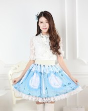 Knee-length Sweet Lolita Blue Customized Pleated Skirt with Cats Prints and Lace Lolita Fashion