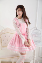 Sleeveless Knee-length Pink Princess Dress with White Lace Sweet Lolita Dress Customize