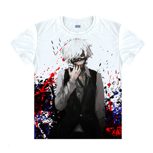Tokyo Ghoul Fashion Animation White Smooth Decron T-shirt 048 More Patterns