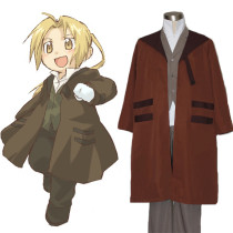 Rulercosplay Fullmetal Alchemist Edward Elric Brown Uniform Cltoh Cosplay Costume Wholesaler Resaler