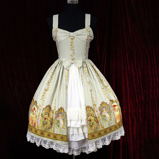 Rulercosplay Customized Cute Bowknot Printing Flax Lolita Beige And Grey Vest Dress Anime Cosplay Co