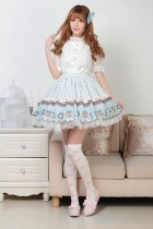 Customized Tea Time Prints and Lace Blue Knee-length Sweet Lolita Skirt Lolita Fashion