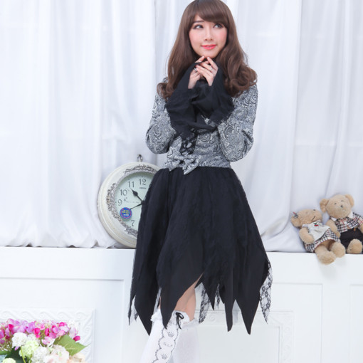 Knee-length Dress with Long Sleeve Princess Chiffon Lolita Dress