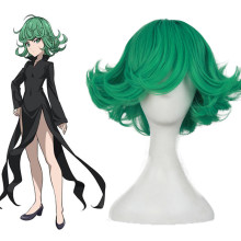 Rulercosplay ONE PUNCH MAN Tatsumaki Green Medium Curly Heat Resistant Fiber Cosplay Anime Wigs Whol