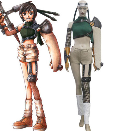 Rulercosplay Final Fantasy VII Yuffie Kisaragi Green Cosplay Costume Wholesaler Resaler
