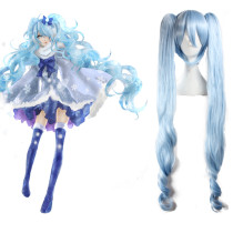 Rulercosplay Snow Miku Vocaloid White & Blue Heat Resistant Fiber 120cm Curly Long Cosplay Anime Wig