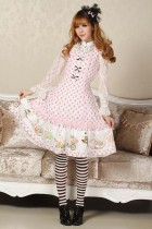Sleeveless Knee-length Pink Lace Princess Dress Sweet Lolita Dress Customize