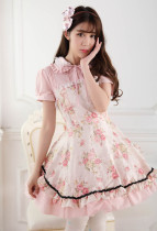 Short Sleeves Knee-length Pink Princess Dress with Floral Prints Sweet Lolita Dress Customize
