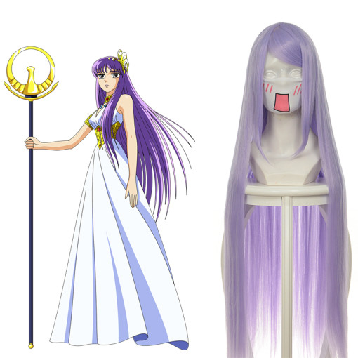 Rulercosplay Heat Resistant Fiber Inspired By Saint Seiya Saori Kido Super Long Purple Anime Wigs Wh