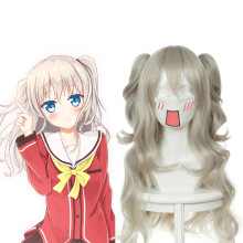 Rulercosplay Charlotte Nao Tomori Long Curly Gray White Heat Resistant Fiber Cospaly Anime Wigs Whol