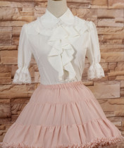 Ruffled Collar White Medium Sleeves Princess Sweet Lolita Blouse with Lace