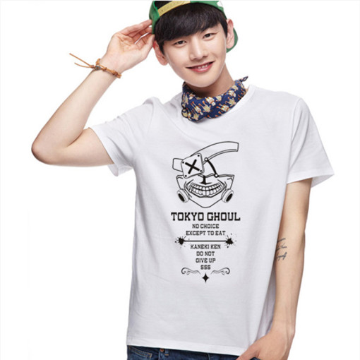 Tokyo Ghoul Fashion Animation White Gray Cotton T-shirt Adult