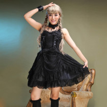 Knee-length Dress Gothic With Collors Nylon Lolita Dress