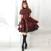 Black Knee-length Dress with Short Sleeve Sweet Princess Lolita Dress