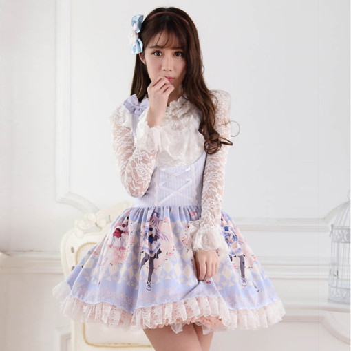Sleeveless Knee-length Blue Princess Dress with Bow Sweet Lolita Dress Accept Customize