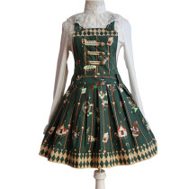 Lolita Fashion Keen-length Rabbit And Poker Pattern Cotton Overalls Dress With Bows Sweet Lolita Dre