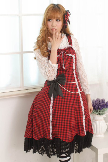 Sleeveless Knee-length Red Princess Slip Dress with Squares Sweet Lolita Dress Customize