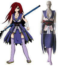 Rulercosplay Fairy Tail Erza Kimono Fight Uniform Purple Cosplay Costume Wholesaler Resaler