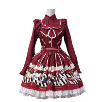 Lolita Fashion Cotton Dark Magic Party Pattern Overalls Dress Sweet Lolita Dress Anime Cosplay Custo