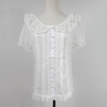 Cute White Thin Chiffon and Lace Lolita Short Sleeves Blouse