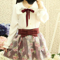 Embroidery Square-Neckline Design White Chiffon Sweet Lolita Blouse