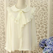 Stringy Selvedge Butterfly-Tied Chiffon Light Yellow Long Sleeves Sweet Lolita Blouse