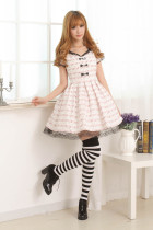 Short Sleeves Knee-length Pink Lace Bow Princess Dress Sweet Lolita Dress Customize
