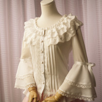 Lovely Dacron and Lace Medium Length Sleeves Milky Lolita Blouse