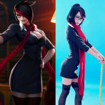 Rulercosplay League of Legends Fiora Black Uniform Cloth Cosplay Costume Wholesaler Resaler
