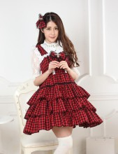 Sleeveless Knee-length Red Bow Multilayer Princess Dress With Squares Sweet Lolita Dress Customize A
