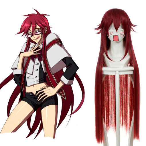 Rulercosplay Heat Resistant Fiber Inspired By Black Butler Death Grell Sutcliff Super Long Red Anime