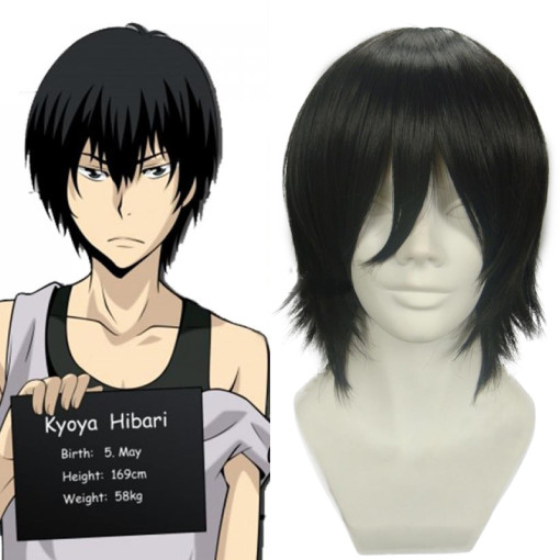 Rulercosplay Heat Resistant Fiber Inspired By Reborn! Kyoya Hibari Short Black Anime Wigs Wholesaler