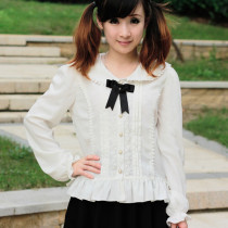 Lovely Chiffon Cat-ears Neck Long Sleeve White Women Sweet Lolita Blouses