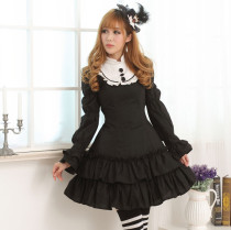 Long Sleeves Knee-length Black Muitilayer Princess Dress Sweet Lolita Dress Customize Anime Cosplay