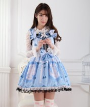 Sleeveless Knee-length Blue Bows Princess Dress With Lace Sweet Lolita Dress Customize Anime Cosplay
