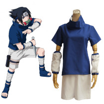 Rulercosplay Naruto Uchiha Sasuke Pattern Blue Cotton Summer Cosplay Costume Wholesaler Resaler