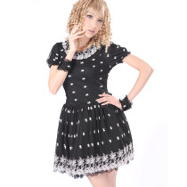 Black Polyester Floral Pattern Knee-length Short Sleeve Sweet Lolita Dress