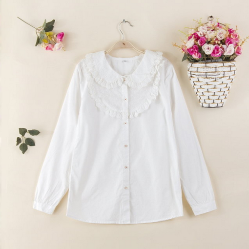 Cotton Lace Collar Long Sleeve White Girls Sweet Lolita Blouse