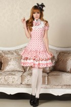 Short Sleeves Knee-length Pink Princess Dress Sweet Lolita Dress Customize