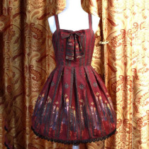 Rulercosplay Customized Byzantine Art Printing Wine Red Lolita Braces Dress Anime Cosplay Costumes W