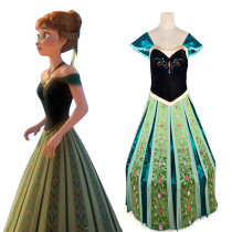 Frozen Anna's Dress on Elsa's Coronation Day Disney Green Cosplay Costume