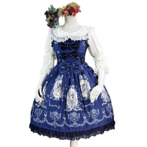 Lolita Fashion Cotton Tangled Pattern Dress with Bows and Lace Sweet Lolita Dress Anime Cosplay Cust