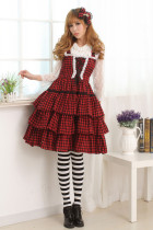 Sleeveless Knee-length Red and Black Lace-up Princess Dress Sweet Lolita Dress Customize Anime Cospl