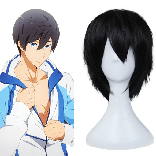 Rulercosplay Heat Resistant Fiber Inspired By Free! Haruka Nanase Short Black Anime Wigs Wholesaler