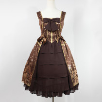 Rulercosplay Customized Hot Stamping Polyester And Gauze Bowknot Lolita Vest Dress 3 Colors Wholesal