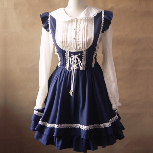 Sweet Lace Tie Decron Fashion Lolita Dress Anime Cosplay Custome.