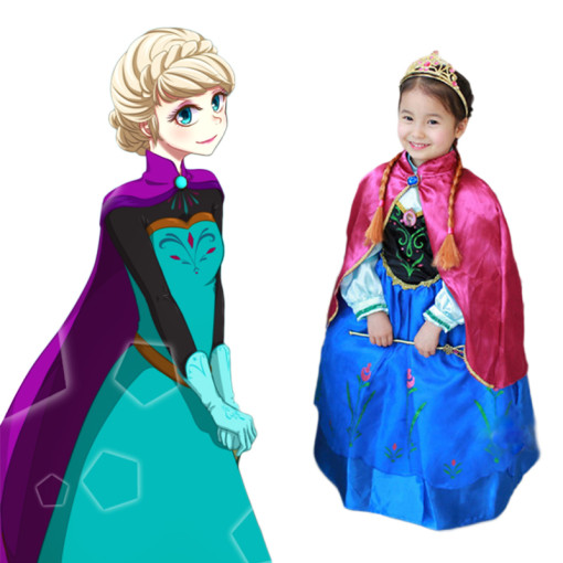 Movie Frozen Cosplay Costume Princess Anna Children Cosplay Dress
