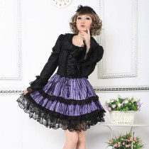 Polyester Knee-length  Dress with Lace and Bowknots Long Sleeve Gothic Lolita Dress